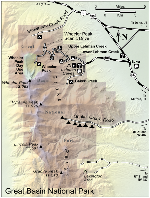 Campground locations in the park